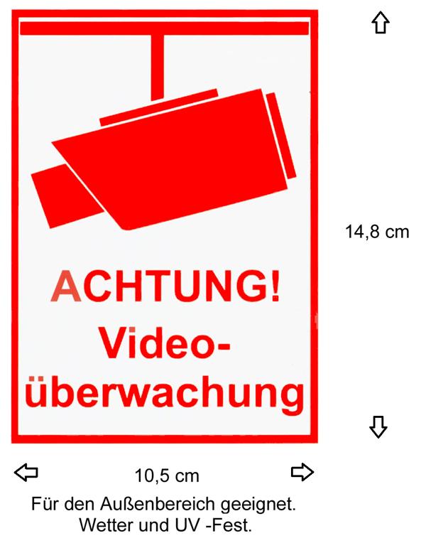 2 X Video überwacht Kamera Aufkleber Warnaufkleber