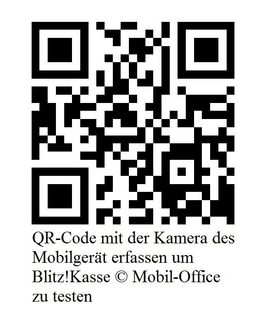QR Code mit der Kameraa des Mobilgerät erfassen um Blitz!Kasse Mobile Office zu testen