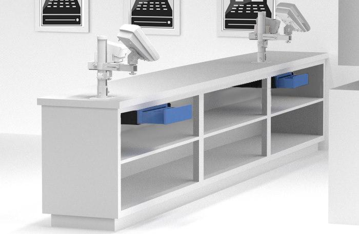 Unterbauvorrichtung, Untertischhalterung, Metall-Unterbauwinkel für Geldlade, KAssenlade, Kassenschub
