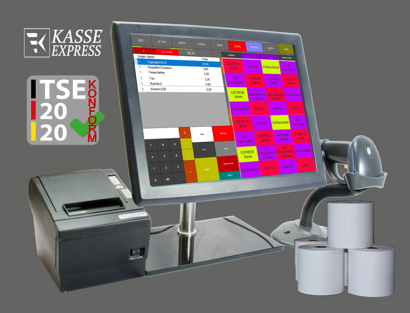 """EXPRESSKASSE Handel X2 - Touchscreenkasse mit 15"""" Monitor"""