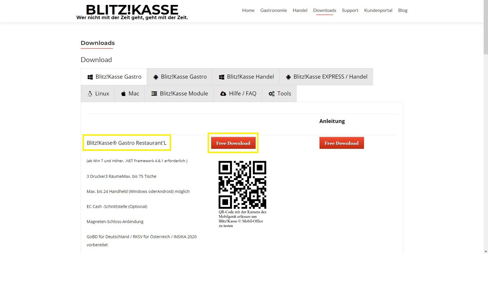 unsere Kundenseite für Download der Softwarem Support, Module, für windows oder Android