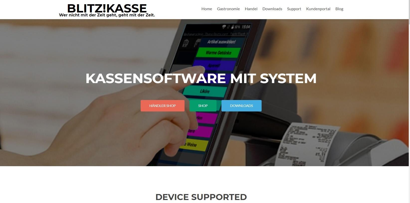 Blitz!Kasse FrontPage Hauptseite für unsere WebPage und Blitz!Kasse Software