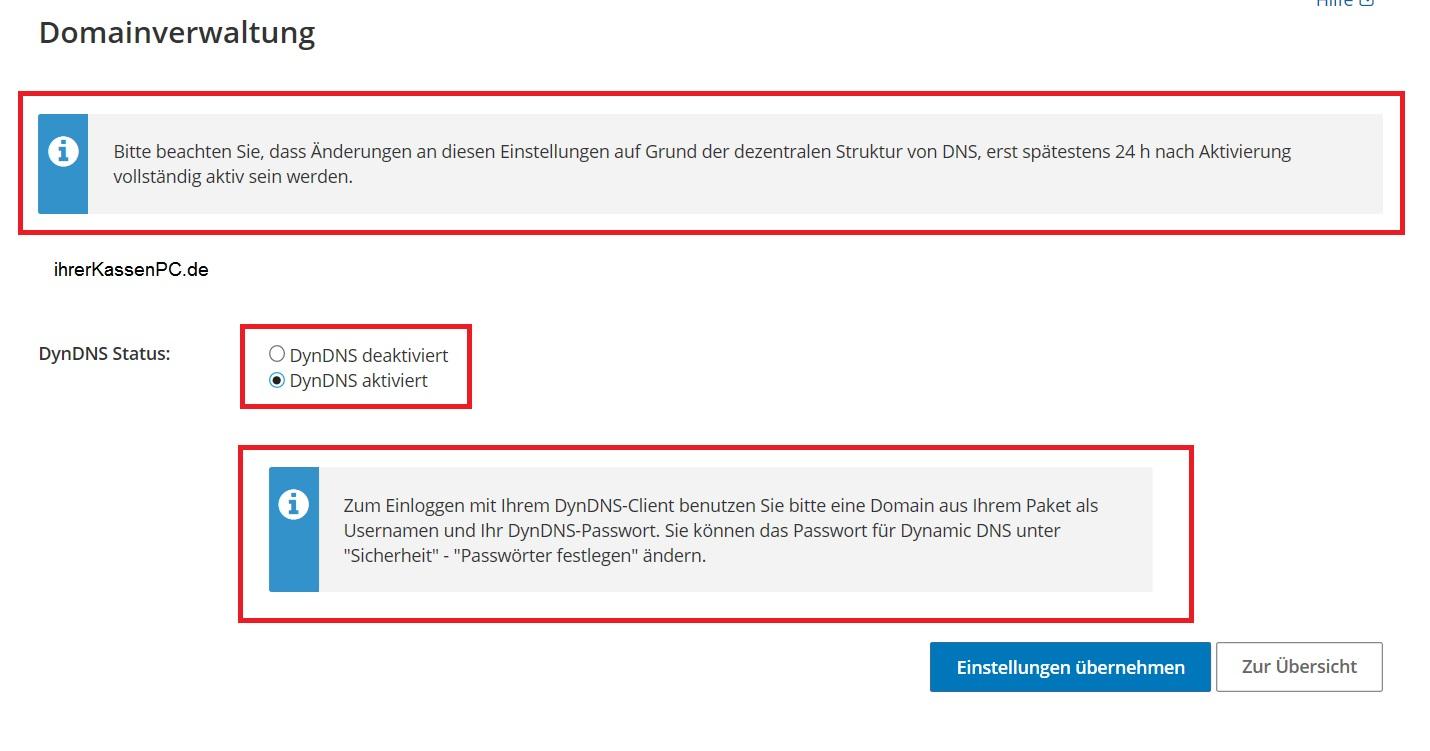 Blitz!Kasse Zugang über Internet / Domainverwaltung / Strato.de