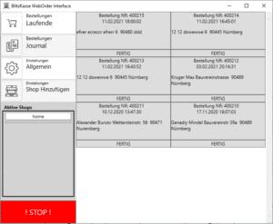Blitz!Kasse WebOrder – Multishop Schnittstelle